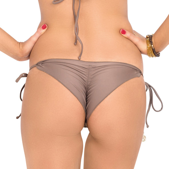 SECRETS IN THE SAND - Wavey Ruched Back Brazilian Tie Side Bottom