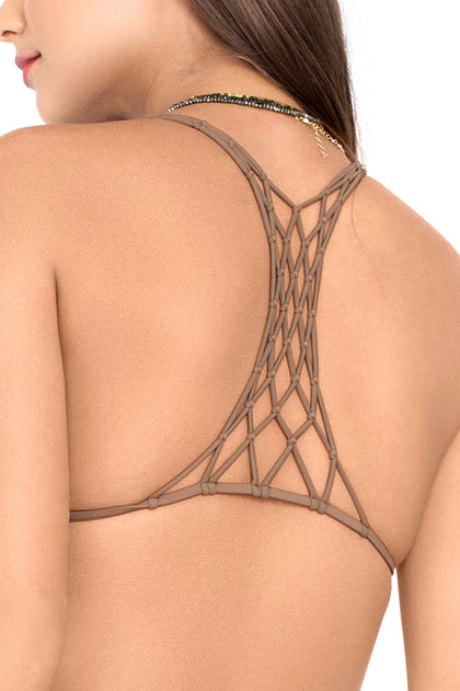 SECRETS IN THE SAND - Knotted Net Back Triangle & Strappy Brazilian Ruched Back Bottom • Multicolor