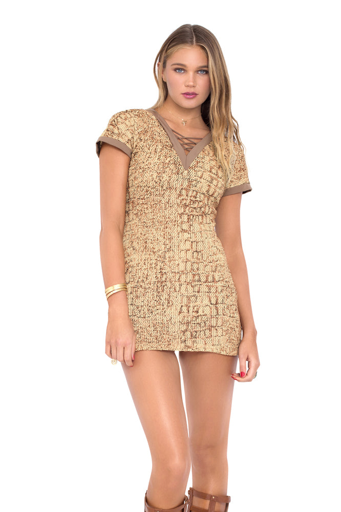 SECRETS IN THE SAND - Vneck Bodycon Dress • Multicolor