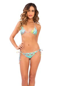 SIREN DANCE - Wavey Triangle Top & Wavey Ruched Back Brazilian Tie Side Bottom • Multicolor