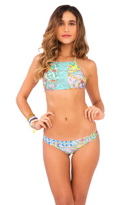 SIREN DANCE - Lace Cut Out Halter Top & Lo Rise Seamless Skimpy Bottom • Multicolor