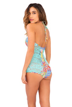 SIREN DANCE - Lace Illusion High Halter One Piece • Multicolor