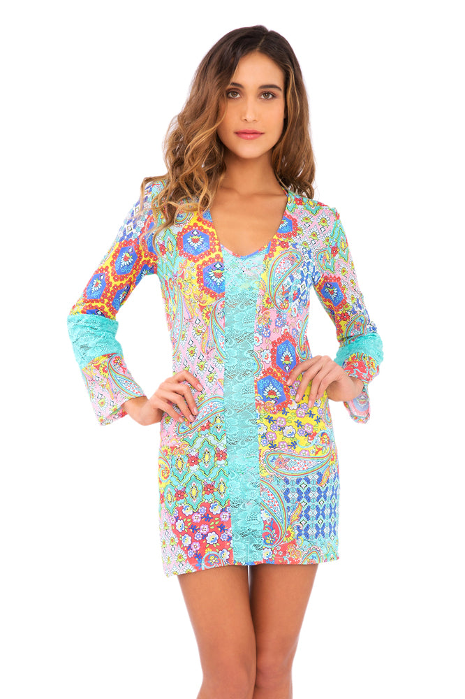 SIREN DANCE - Lace Cutout Plung V Neck Dress • Multicolor