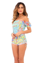 SIREN DANCE - Off The Shoulder High Waist Romper • Multicolor