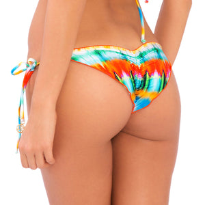 OCEAN WHISPERS - Wavey Ruched Back Brazilian Tie Side Bottom