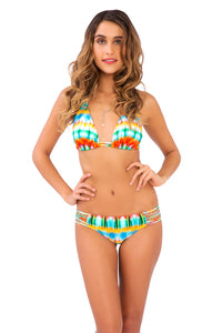 OCEAN WHISPERS - Triangle Halter Top & Braided Side Full Bottom • Multicolor