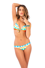 OCEAN WHISPERS - Molded Push Up Bandeau Halter Top & Lo Rise Hipster Bottom • Multicolor