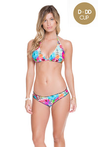 PARAISO - Triangle Halter Top & Full Ruched Back Bottom • Multicolor