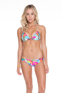 PARAISO - Molded Push Up Bandeau Halter Top & Lo Rise Seamless Skimpy Bottom • Multicolor