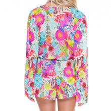 PARAISO - Wrap Front Long Sleeve Romper