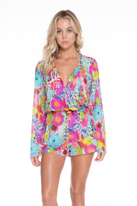 PARAISO - Wrap Front Long Sleeve Romper • Multicolor