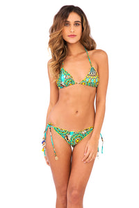 MOON PRINCESS - Wavey Triangle Top & Wavey Ruched Back Brazilian Tie Side Bottom • Multicolor