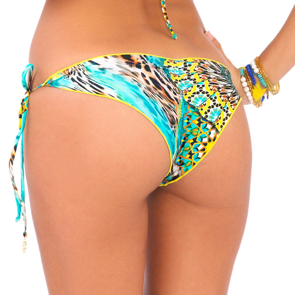 MOON PRINCESS - Wavey Ruched Back Brazilian Tie Side Bottom