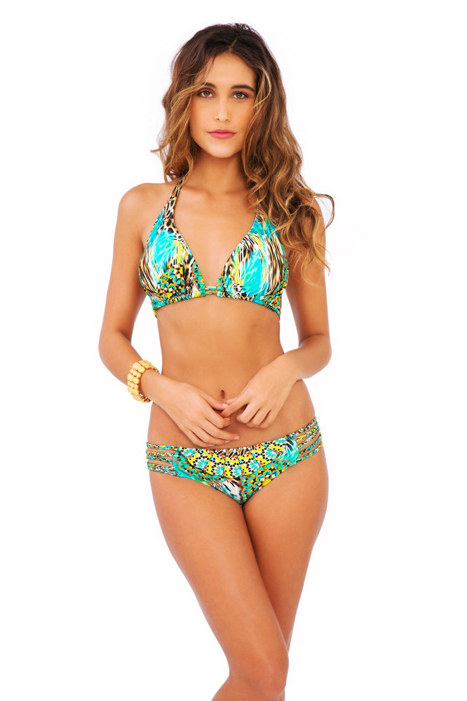 MOON PRINCESS - Triangle Halter Top & Braided Side Full Bottom • Multicolor