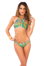 MOON PRINCESS - Strings To Braid Halter Top & Strappy Brazilian Ruched Back Bottom • Multicolor