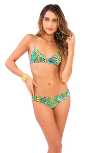MOON PRINCESS - Cross Over Bra W  Adjustable Back Tie & Wavey Ruched Back Brazilian Bottom • Multicolor