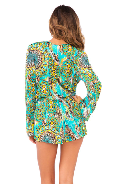 MOON PRINCESS - Wrap Front Long Sleeve Romper • Multicolor