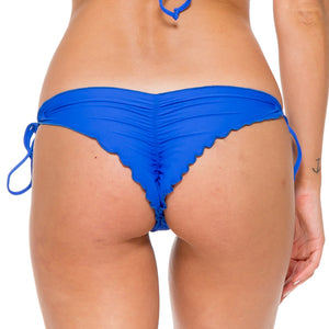 TROPICAL PRINCESS - Wavey Ruched Back Brazilian Tie Side Bottom