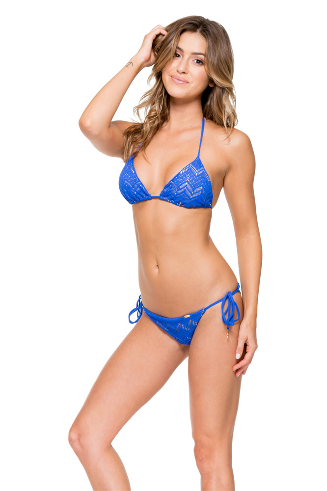 TROPICAL PRINCESS - Triangle Top & Wavey Ruched Back Brazilian Tie Side Bottom • Electric Blue