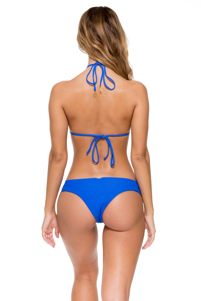 TROPICAL PRINCESS - Crochet Illusion Halter Top & Split Band Skimpy Bottom • Electric Blue