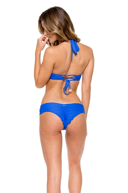 TROPICAL PRINCESS - Push Up Underwire Top & Scrunch Ruched Back Brazilian Bottom • Electric Blue