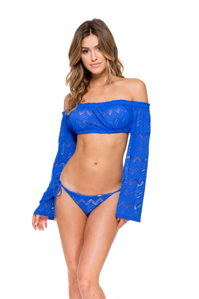 TROPICAL PRINCESS - Off The Shoulder Crochet Top & Wavey Ruched Back Brazilian Tie Side Bottom • Electric Blue