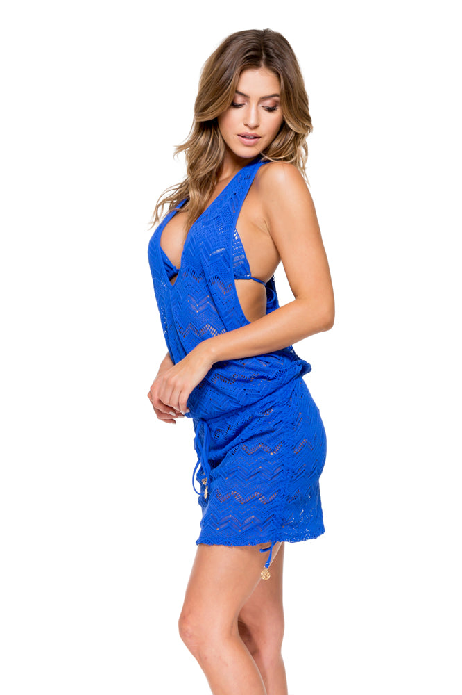TROPICAL PRINCESS - T Back Mini Dress • Electric Blue