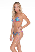 SUNBURST - Wavey Triangle Top & Wavey Ruched Back Brazilian Tie Side Bottom • Multicolor