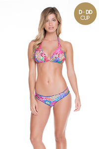 SUNBURST - Triangle Halter Top & Full Ruched Back Bottom • Multicolor