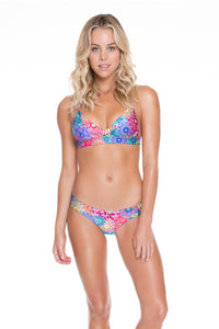 SUNBURST - Cross Over Bra Top With Adjustable Back & Wavey Ruched Back Brazilian Bottom • Multicolor