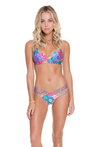 SUNBURST - Cross Over Bra Top With Adjustable Back & Strappy Brazilian Ruched Back Bottom • Multicolor