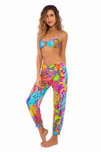 BAREFOOT & FREE - Suspended Strings Bandeau Top & Smocked Gipsy Pant • Multicolor