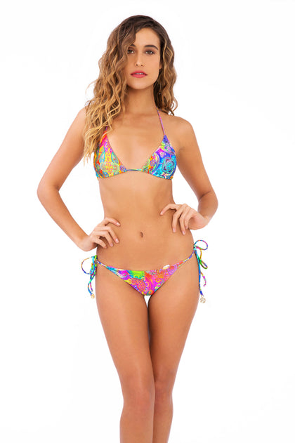 BAREFOOT & FREE - Triangle Top & Wavey Ruched Back Brazilian Tie Side Bottom • Multicolor