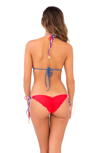 AMERICAN DREAM - Triangle Top & Wavey Ruched Back Brazilian Tie Side Bottom • Multicolor