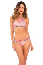 AMERICAN DREAM - Crochet Illusion Halter Top & Strappy Brazilian Ruched Back Bottom • Multicolor