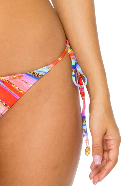 BELLAMAR - Triangle Top & Ruched Back Full Tie Side Bottom • Multicolor