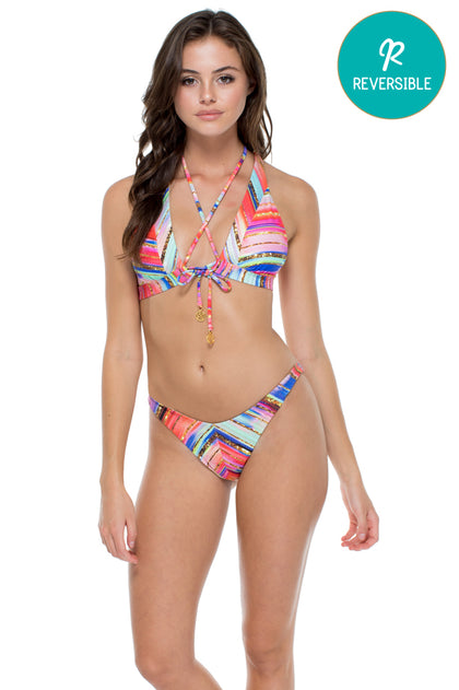 BELLAMAR - T Back Halter Top & High Leg Brazilian Bottom • Multicolor