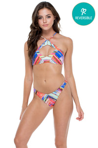 BELLAMAR - High Neck Cutout Top & High Leg Brazilian Bottom • Multicolor