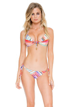 BELLAMAR - Molded Push Up Bandeau Halter Top & Ruched Back Full Tie Side Bottom • Multicolor