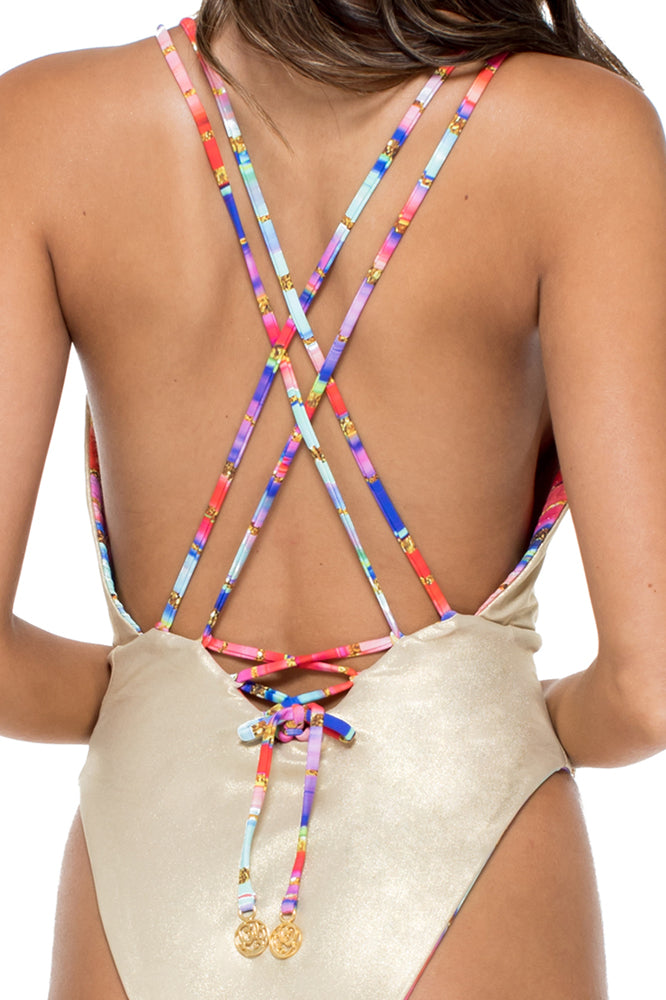 BELLAMAR - Deep V Crossed Back One Piece • Multicolor