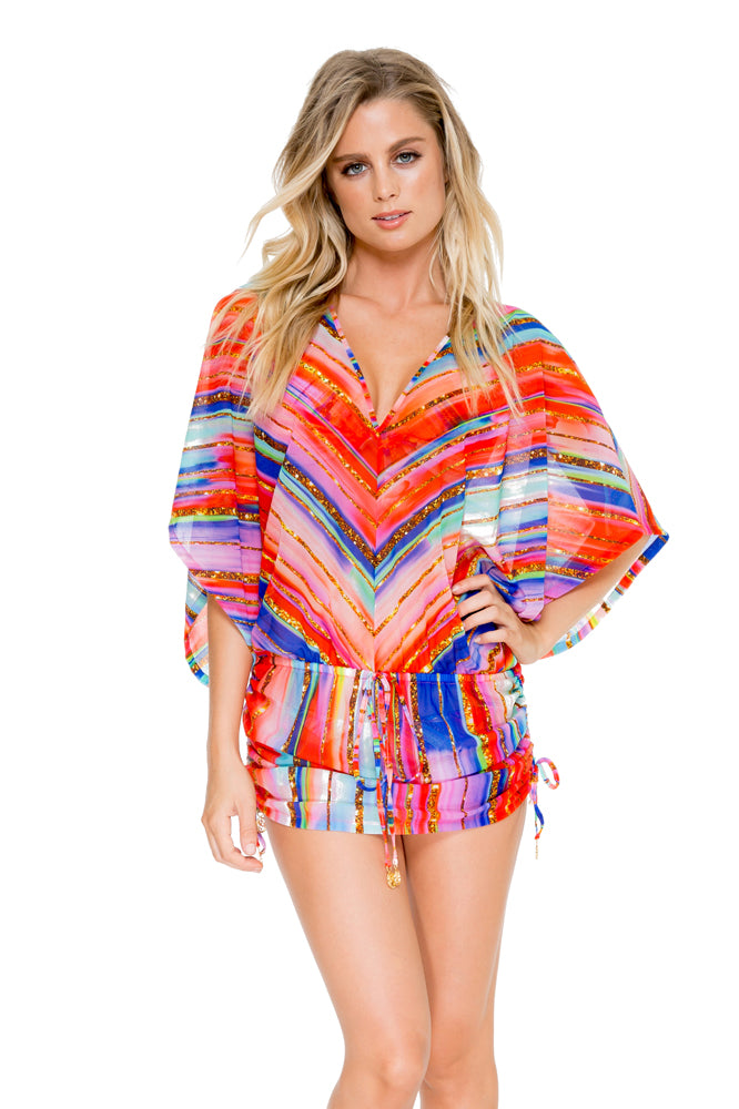 BELLAMAR - Cabana V Neck Dress • Multicolor
