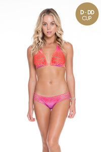 SUNSET ANGEL - Triangle Halter Top & Braided Side Full Bottom • Multicolor