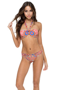 MANDINGA - Fama Multi Way Underwire Bandeau Top & Strappy Brazilian Ruched Back Bottom • Multicolor
