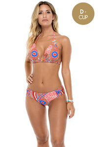 MANDINGA - Triangle Halter Top & Scrunch Panty Full Bottom • Multicolor