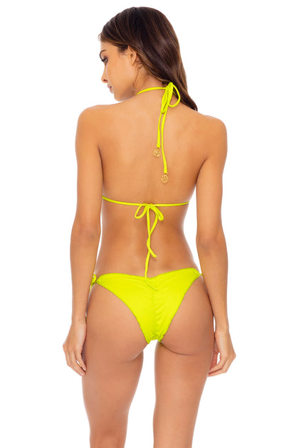 ORILLAS DEL MAR - Triangle Top & Wavey Ruched Back Tie Side Bottom • Glowstick
