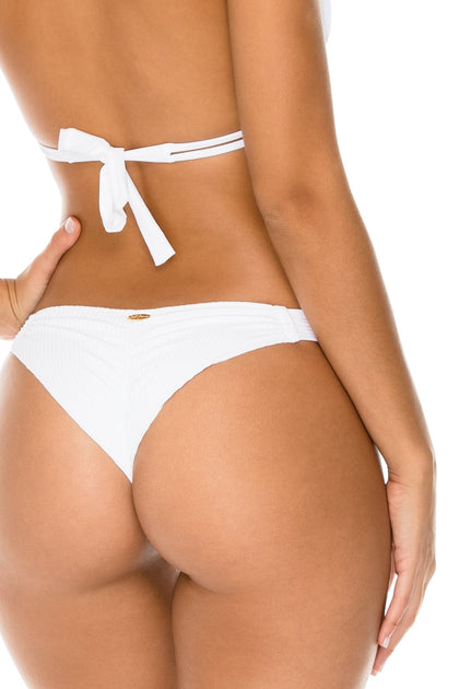 COSTA DEL SOL - Triangle Halter Top & Strappy Brazilian Ruched Back Bottom • White