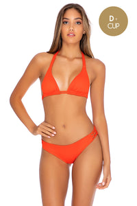 ORILLAS DEL MAR - Triangle Halter Top & Full Bottom • Fuego