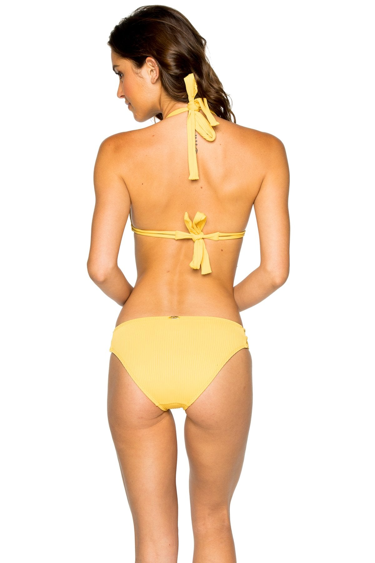 COSTA DEL SOL - Triangle Halter Top & Full Bottom • Banana