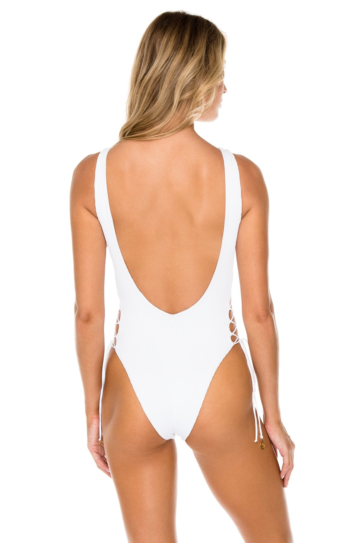 COSTA DEL SOL - Open Side One Piece Bodysuit • White