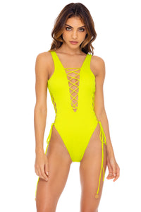 ORILLAS DEL MAR - Open Side One Piece Bodysuit • Glowstick (3435934842982)